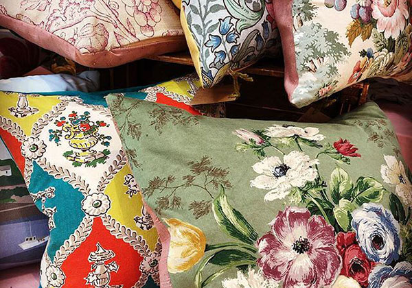 Floral cushions using vintage fabric